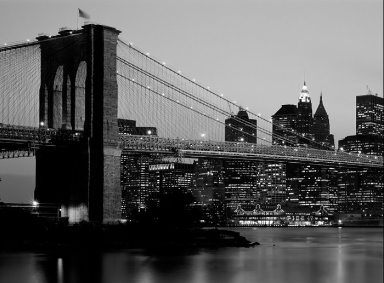 for Black and white new york mural wallpaper